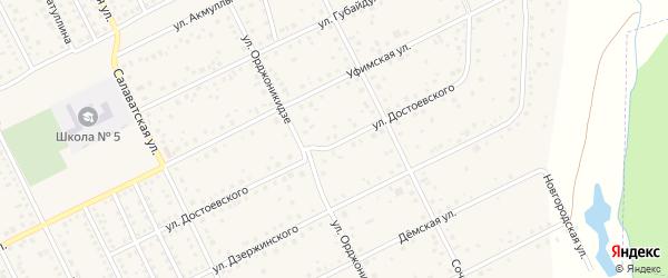 Улица Достоевского на карте села Иглино с номерами домов