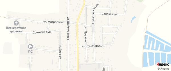 Улица Дружбы на карте села Прибельского с номерами домов