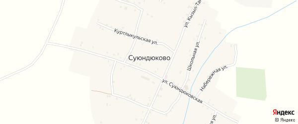 Улица Кызыл-Тан на карте деревни Суюндюково с номерами домов