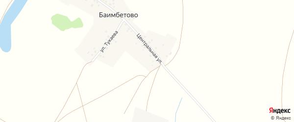 Центральная улица на карте деревни Баимбетово с номерами домов