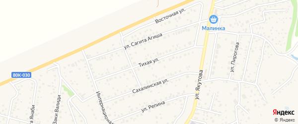 Тихая улица на карте села Иглино с номерами домов