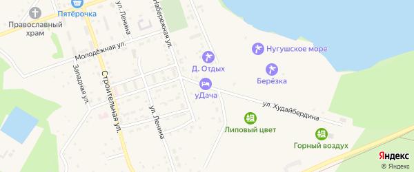 Улица Худайбердина на карте села Нугуша с номерами домов