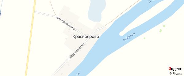 Центральная улица на карте деревни Красноярово с номерами домов