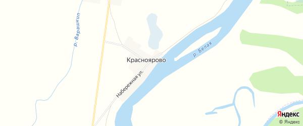 Карта деревни Красноярово в Башкортостане с улицами и номерами домов
