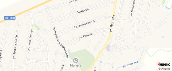 Улица Репина на карте села Иглино с номерами домов
