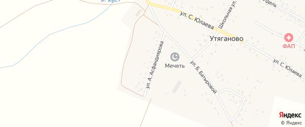 Улица А.Асфандиярова на карте села Утяганово с номерами домов