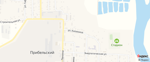 Улица Калинина на карте села Прибельского с номерами домов