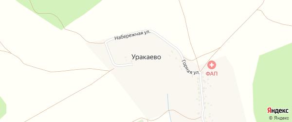 Центральная улица на карте деревни Уракаево с номерами домов