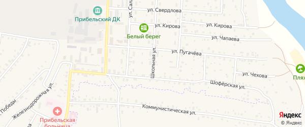 Школьная улица на карте села Прибельского с номерами домов
