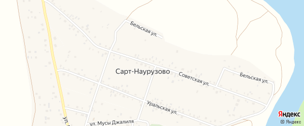 Советская улица на карте деревни Сарт-Наурузово с номерами домов