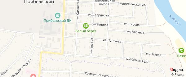 Улица Пугачева на карте села Прибельского с номерами домов