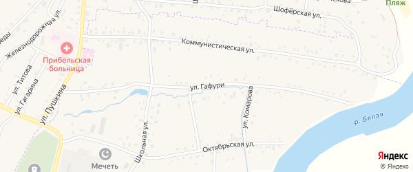 Улица Гафури на карте села Прибельского с номерами домов