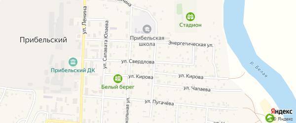 Улица Свердлова на карте села Прибельского с номерами домов