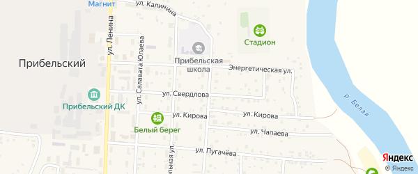 Комсомольская улица на карте села Прибельского с номерами домов