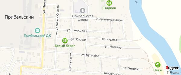 Улица Кирова на карте села Прибельского с номерами домов
