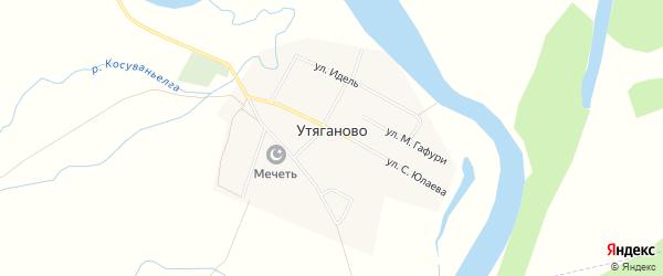 Карта села Утяганово в Башкортостане с улицами и номерами домов