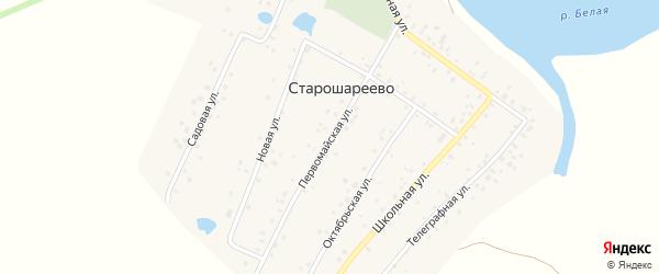 Первомайская улица на карте деревни Старошареево с номерами домов
