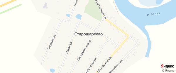 Телеграфная улица на карте деревни Старошареево с номерами домов