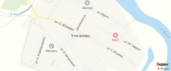 Улица С.Юлаева на карте села Утяганово с номерами домов