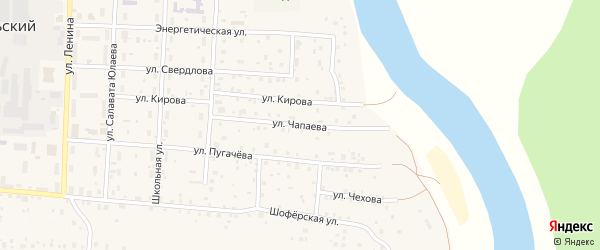 Улица Чапаева на карте села Прибельского с номерами домов