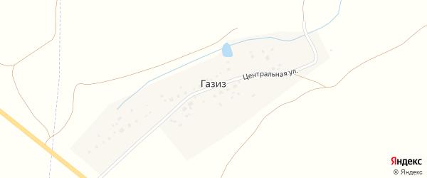 Центральная улица на карте деревни Газиза с номерами домов