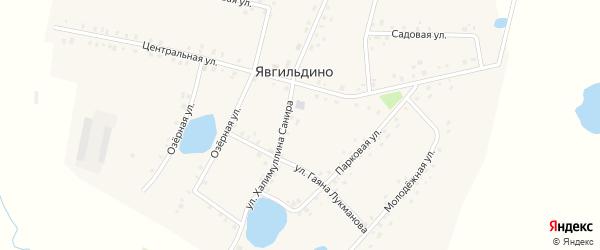 Школьная улица на карте деревни Явгильдино с номерами домов