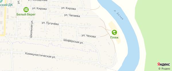 Улица Чехова на карте села Прибельского с номерами домов