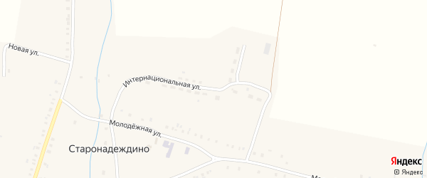 Интернациональная улица на карте села Старонадеждино с номерами домов