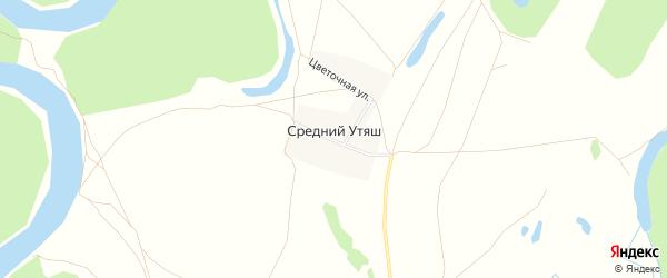 Карта деревни Среднего Утяша в Башкортостане с улицами и номерами домов