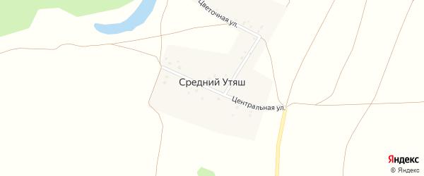 Центральная улица на карте деревни Среднего Утяша с номерами домов