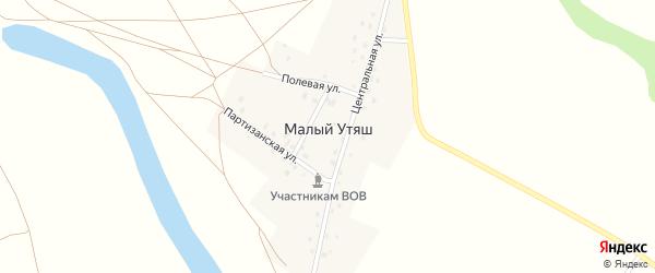 Партизанский переулок на карте деревни Малого Утяша с номерами домов