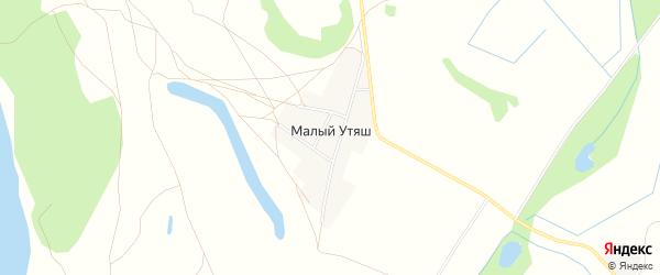 Карта деревни Малого Утяша в Башкортостане с улицами и номерами домов