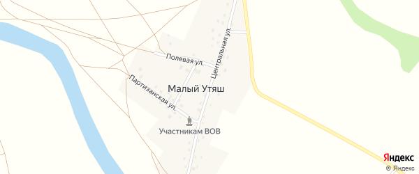 Центральная улица на карте деревни Малого Утяша с номерами домов