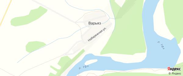 Карта деревни Варьяза в Башкортостане с улицами и номерами домов