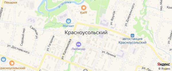 Улица Асфандиярова на карте села Красноусольского с номерами домов
