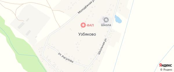 Молодежная улица на карте деревни Узбяково с номерами домов