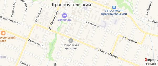 Улица Фрунзе на карте села Красноусольского с номерами домов