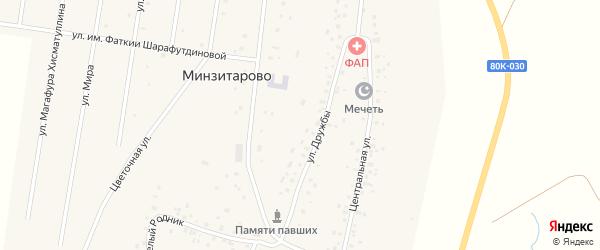 Улица Дружбы на карте села Минзитарово с номерами домов