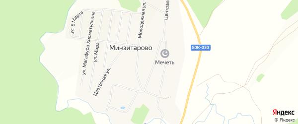 Карта села Минзитарово в Башкортостане с улицами и номерами домов