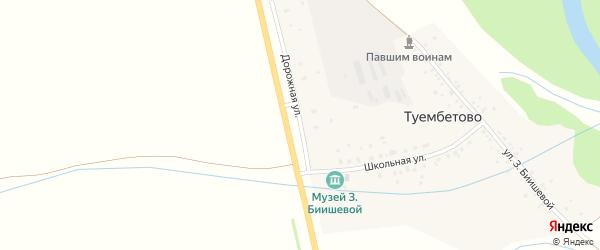Дорожная улица на карте деревни Туембетово с номерами домов