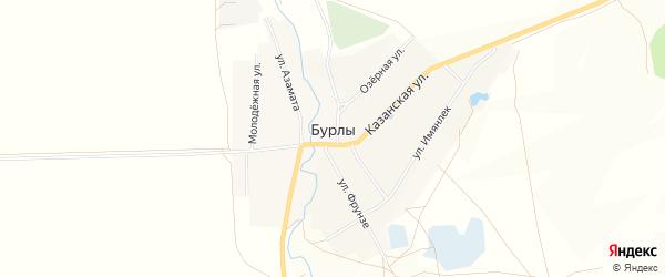 Карта села Бурлы в Башкортостане с улицами и номерами домов