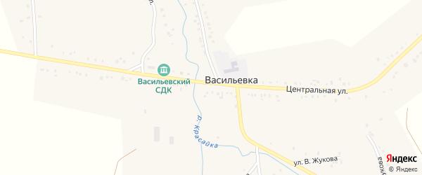 Центральная улица на карте села Васильевки с номерами домов