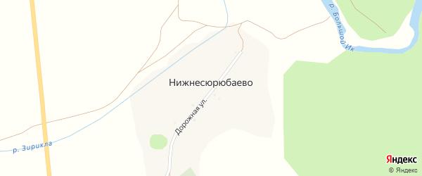 Дорожная улица на карте деревни Нижнесюрюбаево с номерами домов
