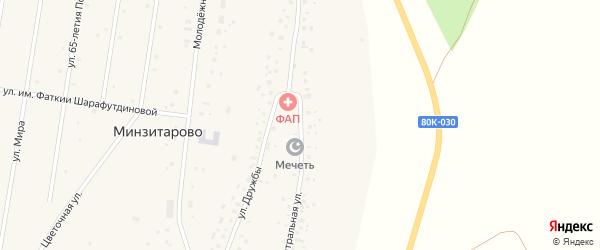 Центральная улица на карте села Минзитарово с номерами домов