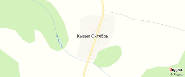 Центральная улица на карте деревни Кызыла Октября с номерами домов