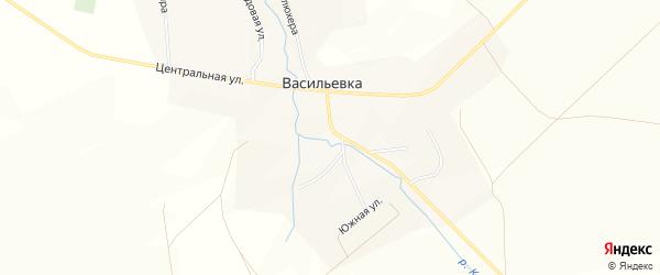Карта села Васильевки в Башкортостане с улицами и номерами домов