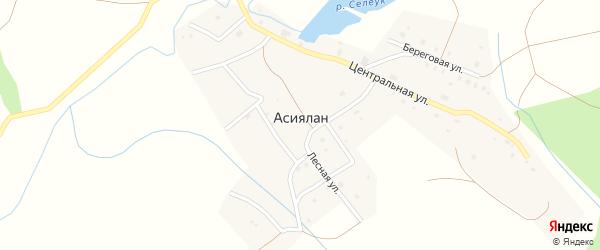 Береговая улица на карте деревни Асиялан с номерами домов