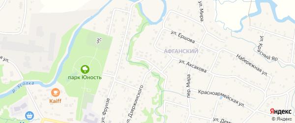 Афганская улица на карте села Красноусольского с номерами домов