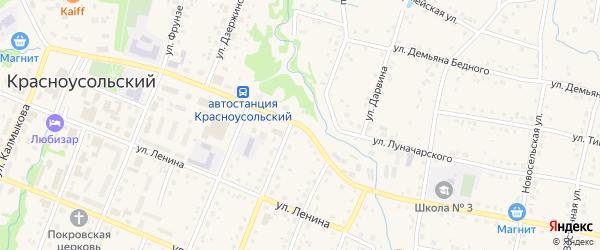 Коммунистическая улица на карте села Красноусольского с номерами домов
