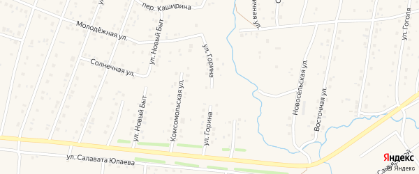 Улица Горина на карте села Красноусольского с номерами домов